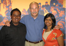 My Wife and I standing with the President of InterVarsity, Alec Hill